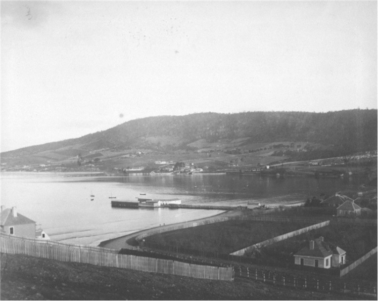 CITE: Sandy Bay from near Bath Street, Battery Point 1885. In: Allport album II No. 6, publ Hobart : s.n., [ca. 1886]. / AUTAS001126183078